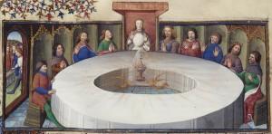 König Artus' Tafelrunde versammelt sich um den Heiligen Gral, 14. Jhdt. [Public domain], via Wikimedia Commons