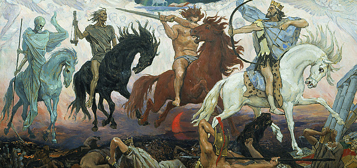 """Die vier Reiter der Apokalypse"" von Viktor M. Vasnetsov [Public domain], via Wikimedia Commons"