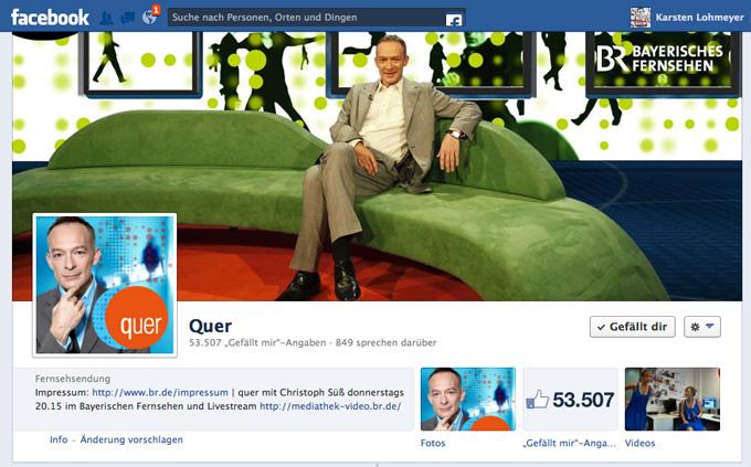 Die Facebook-Seite von quer