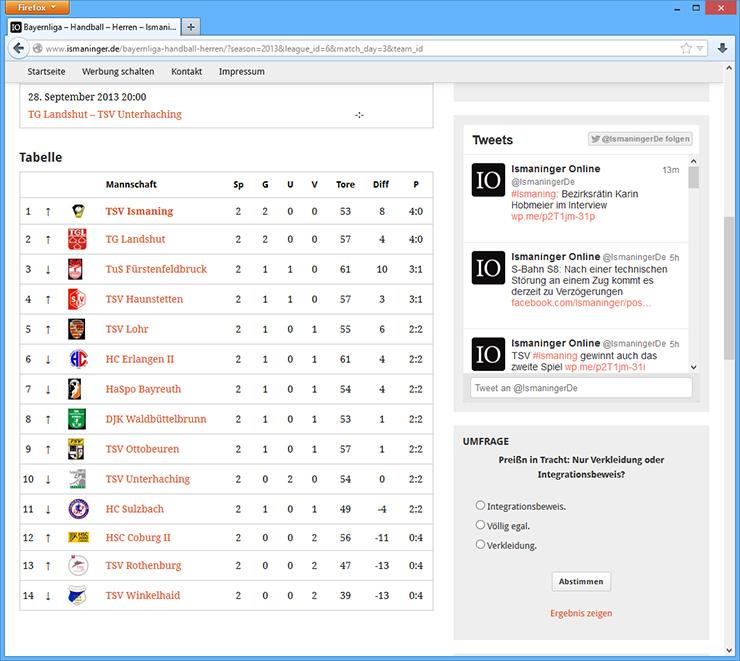 Derzeit befindet sich eine Sportergebnisdatenbank im Aufbau. Noch ist sie etwas umständlich zu bedienen, soll dann aber auf einen Blick alle wichtigen Ergebnisse der Ismaninger Vereine präsentieren.