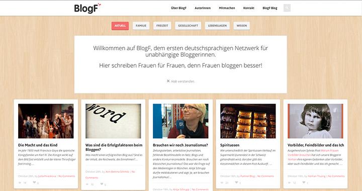 Die BlogF-Webseite