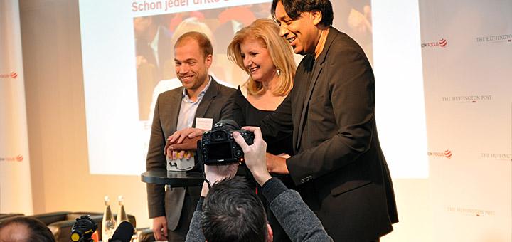 Sebastian Matthes, Arianna Huffington, Cherno Jobatey (v.l.)