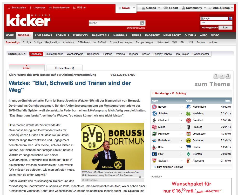 Kicker zum BVB