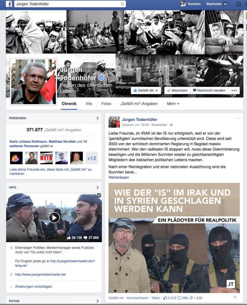 Facebookseite von Jürgen Todenhöfer