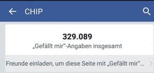Mitte Juni hatte CHIP 329.089 Fans, heute sind es über 4.000 weniger