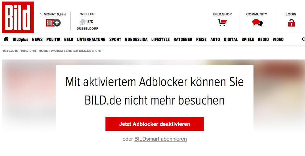 Screenshot Anti-Adblocker-Kampagne der BILD-Zeitung