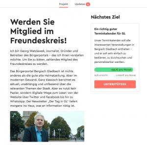 Die Kampagnen-Seite des Bürgerportals Bergisch Gladbach