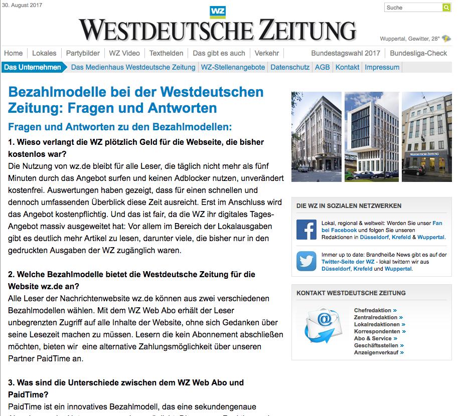 Die Westdeutsche Zeitung nutzt Paidtime